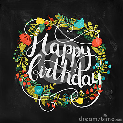 Happy Birthday Card With Hand Drawn Lettering