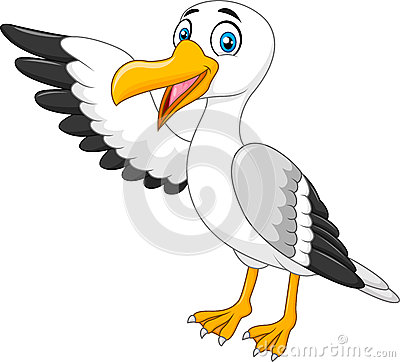Cartoon seagull presenting on white background