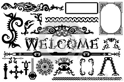 Detailed vintage vector elements in a gothic Halloween style: font, frames, swirls, ornaments, parts etc.
