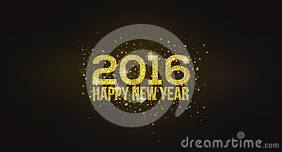 Happy New Year 2016 Golden Greeting Card