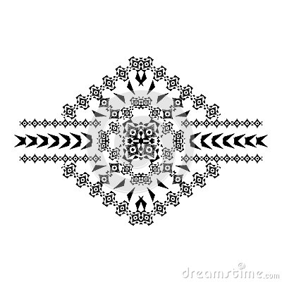 Vector tribal black and white decorative pattern for design. Aztec ornamental style