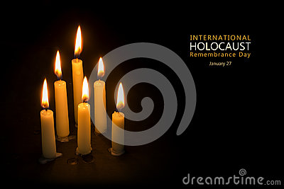 Holocaust Remembrance Day, January 27, candles against black bac