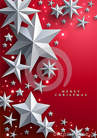 Christmas and New Years red background with frame made of stars