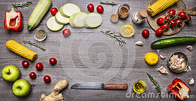 Ingredients for cooking vegetarian food colorful various of organic farm vegetables Healthy food and diet nutrition concept place