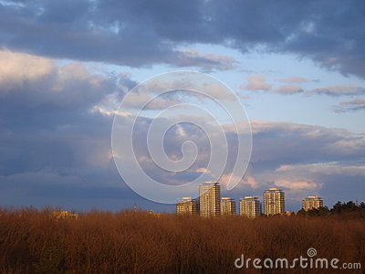 Group of residential towers in Bucharest, seen over park in sunset light
