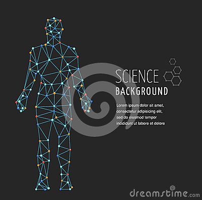 DNA, genetic symbol of man with dna molecule structure