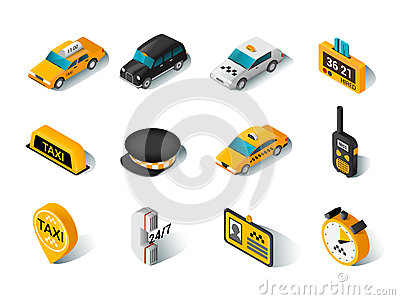 Taxi isometric icons set