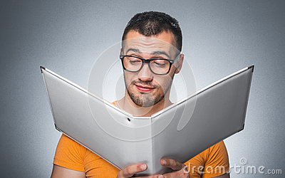 Nerd with book