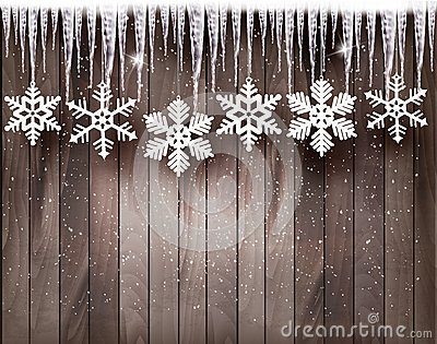 Christmas background with snowflakes and icicles