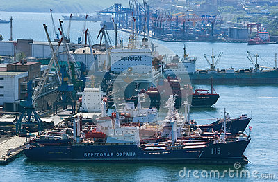 Ships at berth in the port on a sunny day. Vladivostok. Russia. 22.05.2015