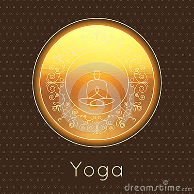Vector yoga illustration. Yoga poster with floral ornament and yogi silhouette. Identity design for yoga studio, yoga center or cl