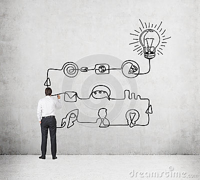 A rear view of a businessman who is drawing a process of business idea's development. A flowchart is drawn on the concrete wall wi