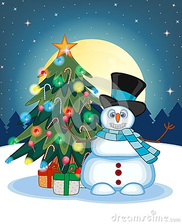 Snowman Wearing A Hat And Blue Scarf Waving His Hand With Christmas Tree And Full Moon At Night Background For Your Design Vector