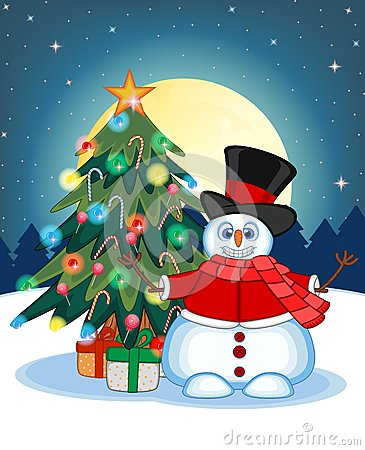 Snowman Wearing A Hat, Red Sweater And Red Scarf Waving His Hand With Christmas Tree And Full Moon At Night Background For Your De