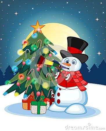 Snowman Wearing A Hat, Red Sweater And A Red Scarf Blowing Horns With Christmas Tree And Full Moon At Night Background For Your De