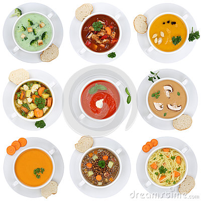 Collection of soups soup in cup tomato vegetable noodle isolated