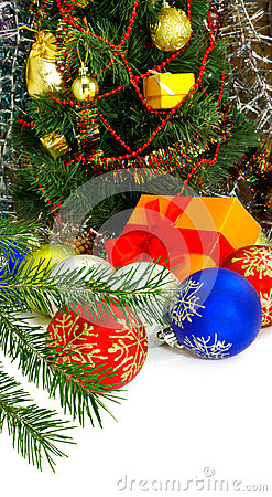 Isolated image�of many Christmas decorations closeup