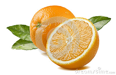Orange and half with leaves isolated on white background