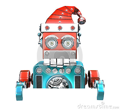 Retro Santa Robot looking out from behind the blank board. over white. Contains clipping path