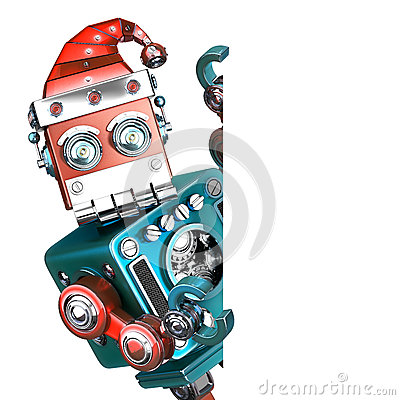 Retro Santa Robot looking out from behind the blank board. . Contains clipping path