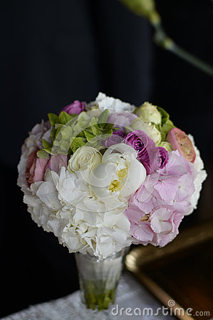 Beautiful bouquet in vase with colorful flowers