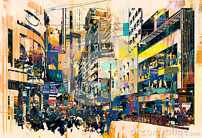 Abstract art of cityscape