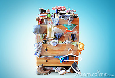 Mess, dresser with scattered clother