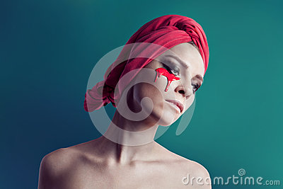 stock image of woman beauty portrait with red towel