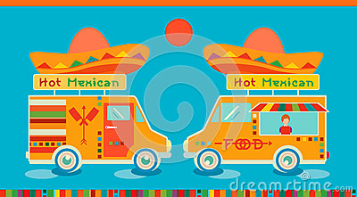Mexican food icon food car. Hot fast food symbol, auto restaurant, mobile kitchen, hot fastfood, spicy food.