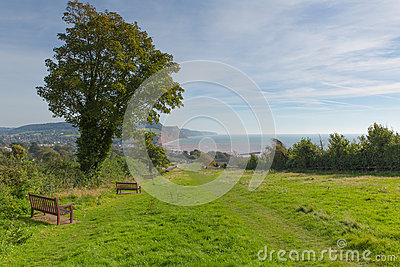 Coast path to Sidmouth Devon England uk popular tourist town in an area of Outstanding Natural Beauty
