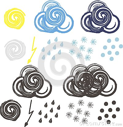 Clip-art for colorful and black-white weather icons