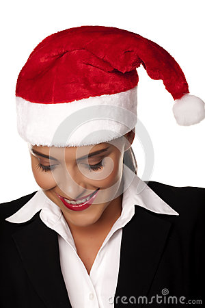 Businesswoman at a Christmas party.