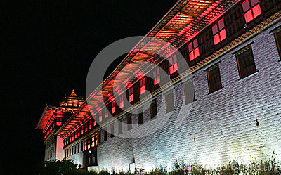 Colourfully lit walls of Thimphu Dzong, Thimphu, Bhutan.