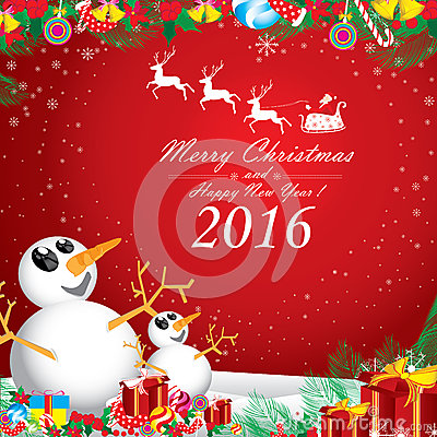 Merry Christmas and Happy New Year 2016. Two snowman in winter on red background.