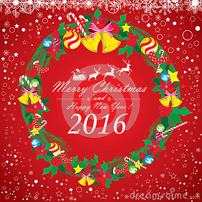 Merry Christmas and Happy New Year 2016. Santa Claus and reindeer. The white snow and Christmas accessories on red background