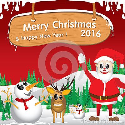 Merry Christmas and Happy New Year 2016. Santa Claus and reindeer. The white snow and Christmas accessories on red background.