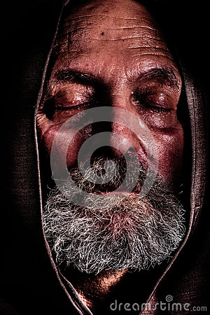Homeless, a Capuchin friar. Bum poverty and suffering