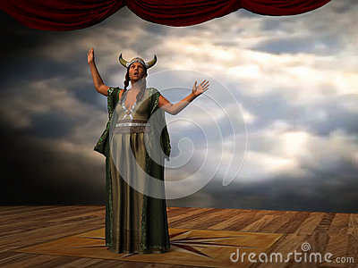 Fat lady Sings Opera Singer Illustration