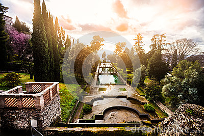 Fabulous landscape, gardens and fountains. Italian Renaissance garden, Italy
