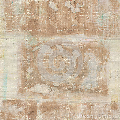 Vintage Grungy Antique Brown Collage Watercolor Background with Text