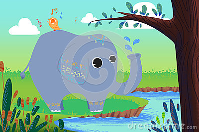 Illustration for Children: Little Elephant is Washing and Little Bird is Singing!