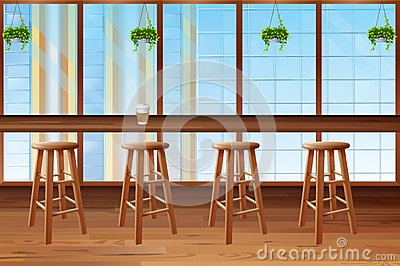 Inside of coffee shop with glass window