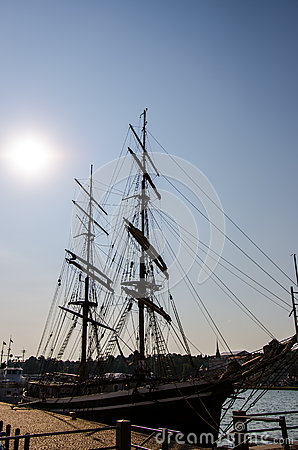 Silhouette of old ship docked in the Helsinki harbour