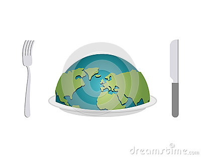 Earth on plate. Planet food. Cutlery: fork and knife. Globe awar