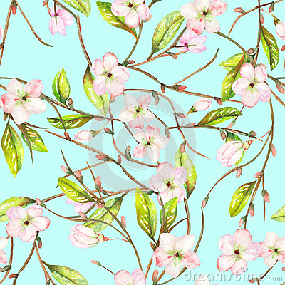 A seamless floral pattern with an ornament of an apple tree branch with the tender pink blooming flowers and green leaves, painted