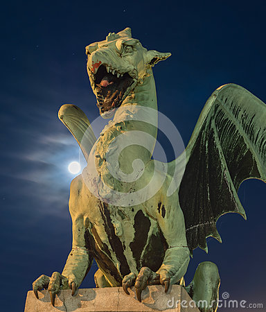 Green dragon with super-moon