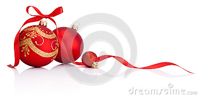 Red christmas decoration baubles with ribbon bow isolated
