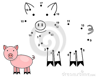 Connect the dots to draw the cute pig. Educational numbers game
