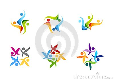 team work, logo, education, people, partner symbol, group icon design vector