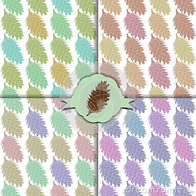 The fir cone pattern. Set of four colorful patterns.